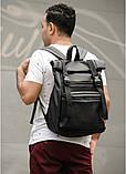 Мужской рюкзак черный роллтоп из матовой эко-кожи городской, повседневный, для ноутбука 15,6, фото 3