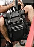 Мужской рюкзак черный роллтоп из матовой эко-кожи городской, повседневный, для ноутбука 15,6, фото 4