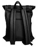 Мужской рюкзак черный роллтоп из матовой эко-кожи городской, повседневный, для ноутбука 15,6, фото 9