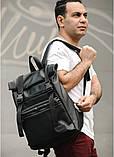 Мужской рюкзак черный роллтоп из матовой эко-кожи городской, повседневный, для ноутбука 15,6, фото 5