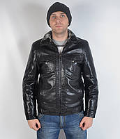 Кожаная теплая мужская зимняя куртка на меху - зима