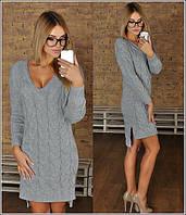 Платье Вязанные косички серое
