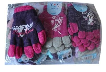 """Перчатки YO """"комбинированные"""" , вязанные ,  однотонные , для девочек от 4-5 лет ."""
