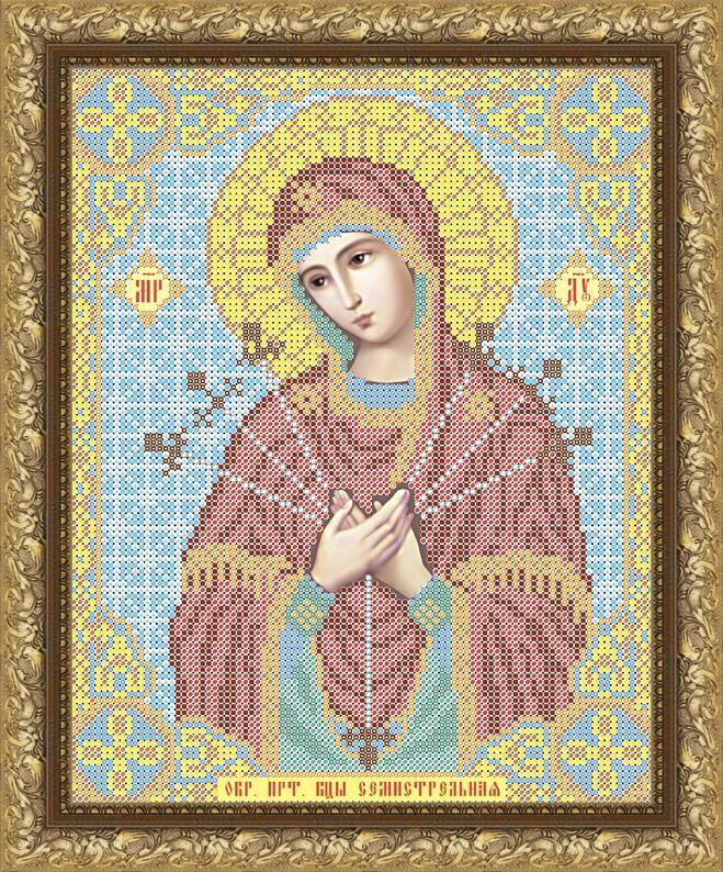 """Рисунок на ткани для вышивания бисером """"Пресвятая Богородица Семистрельная"""""""