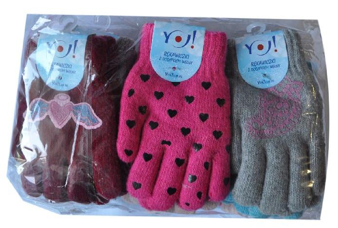 Перчатки YO  , вязанные , на флисе , однотонные , разноцветные , для девочек от 6-9 лет .