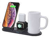 Зарядний пристрій 4 в 1 + підігрів гуртки MUG (2 iPhone, iWatch, AirPods) 15W чорний