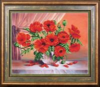 Набор для полной вышивки бисером цветы Огненные маки МК Б-259