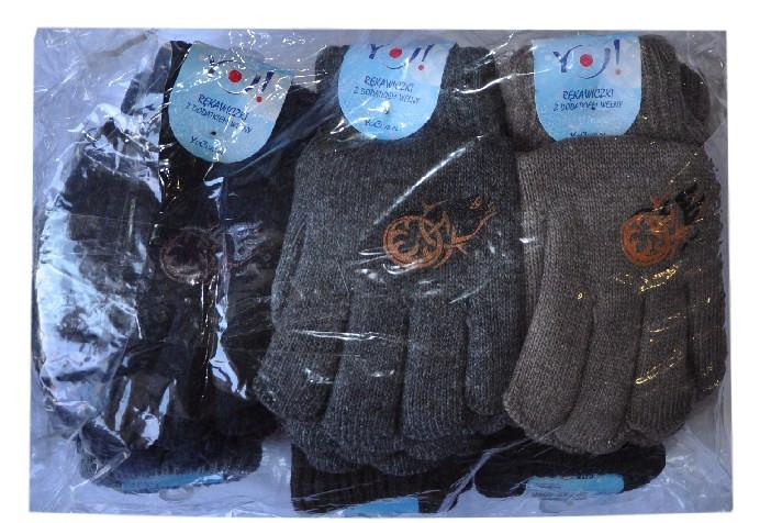 """Перчатки YO """"Эмблема"""" , вязанные , на флисе , однотонные , для мальчиков от 9-12 лет ."""