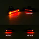 """Ліхтар велосипедний """"STOP"""" із зазначенням поворотів (червоний+жовтий), ЗУ micro USB, вбуд. акум., пульт керування, фото 5"""