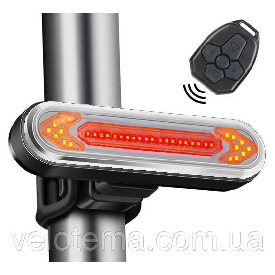 """Ліхтар велосипедний """"STOP"""" із зазначенням поворотів (червоний+жовтий), ЗУ micro USB, вбуд. акум., пульт керування"""