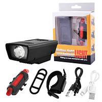 Фара фонарь велосипедный+габарит 5LED, ЗУ micro USB, встроенный аккумулятор