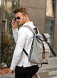 Модный мужской рюкзак роллтоп серый из эко-кожи - качественный кожзам, городской, для ноутбука, повседневный, фото 3