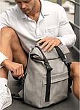 Модный мужской рюкзак роллтоп серый из эко-кожи - качественный кожзам, городской, для ноутбука, повседневный, фото 6