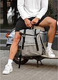 Модный мужской рюкзак роллтоп серый из эко-кожи - качественный кожзам, городской, для ноутбука, повседневный, фото 2