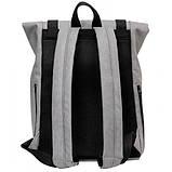 Модный мужской рюкзак роллтоп серый из эко-кожи - качественный кожзам, городской, для ноутбука, повседневный, фото 8