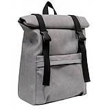 Модный мужской рюкзак роллтоп серый из эко-кожи - качественный кожзам, городской, для ноутбука, повседневный, фото 9