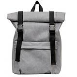 Модный мужской рюкзак роллтоп серый из эко-кожи - качественный кожзам, городской, для ноутбука, повседневный, фото 7