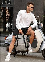 Стильный мужской серый рюкзак роллтоп городской, для ноутбука 15,6 эко-кожа (качественный кожзам)