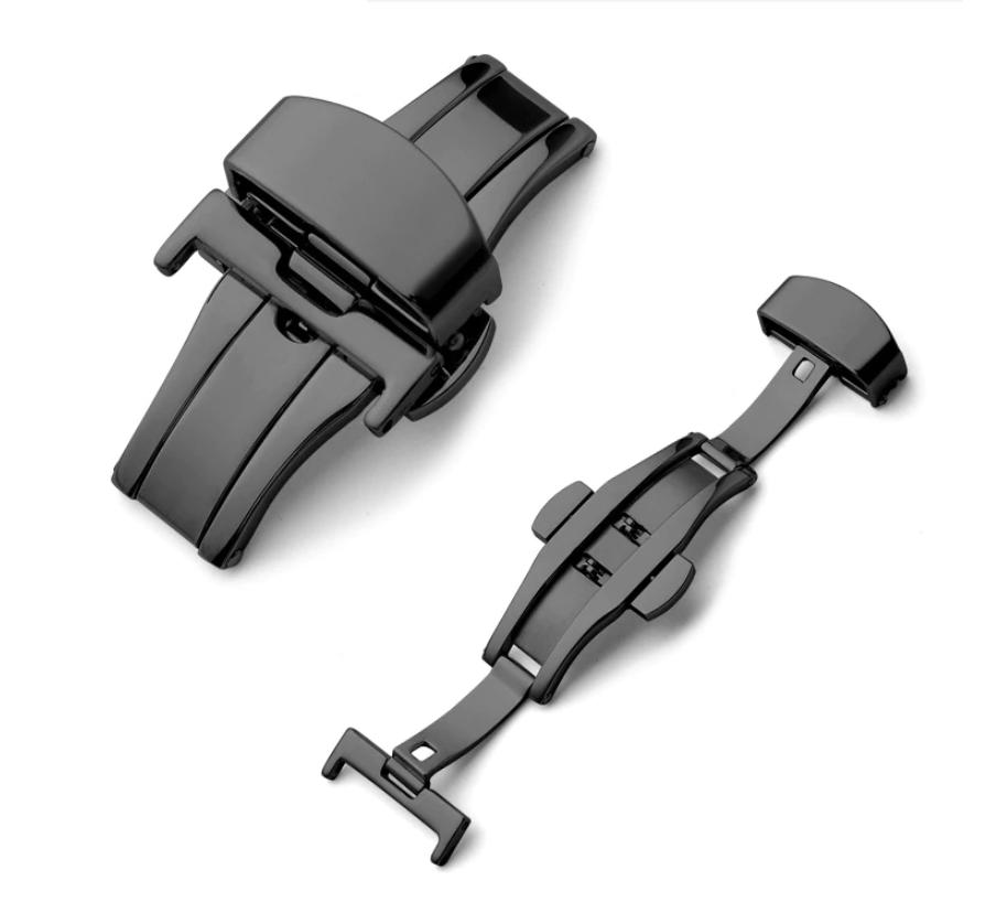 Застежка-бабочка из нержавеющей стали 316L черная для ремешка. 18 мм