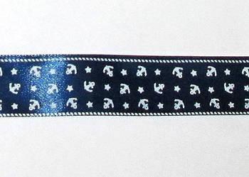 Стрічка атлас Якоря 2,5 см, синя