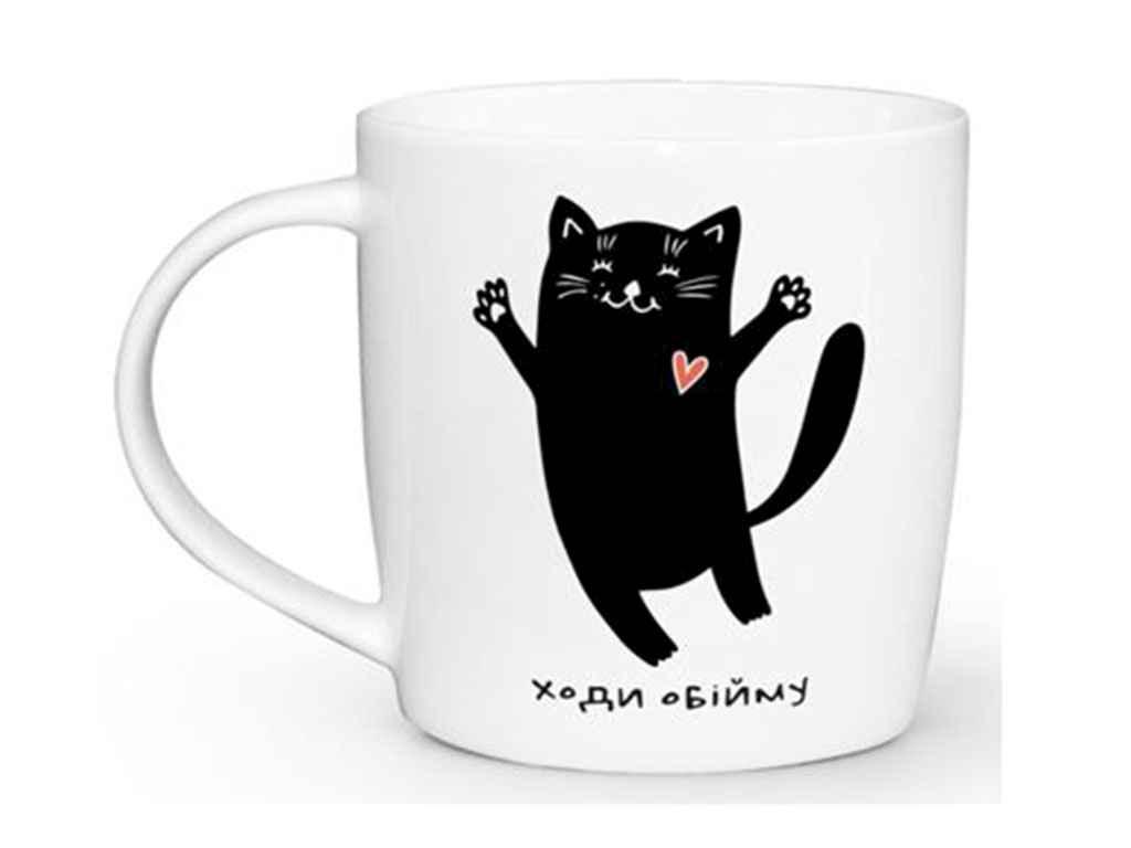 Чашка 360мл Бочка Кіт чорний 1812 ТМKVARTA