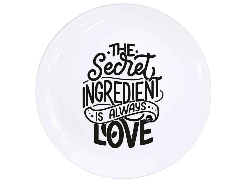 """Тарелка обеденная 25 см """"Секретний інгредієнт - завжди любов"""" стеклокерамика """"KVARTA"""""""