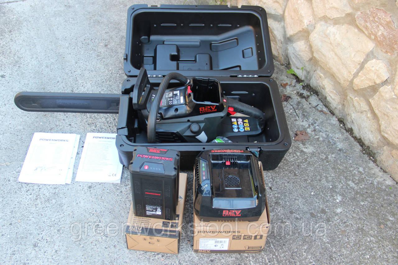 Аккумуляторная цепная пила Powerworks 82V 2000313 / Greenworks 82V GD82CS50 с АКБ 5 Ач и ЗУ