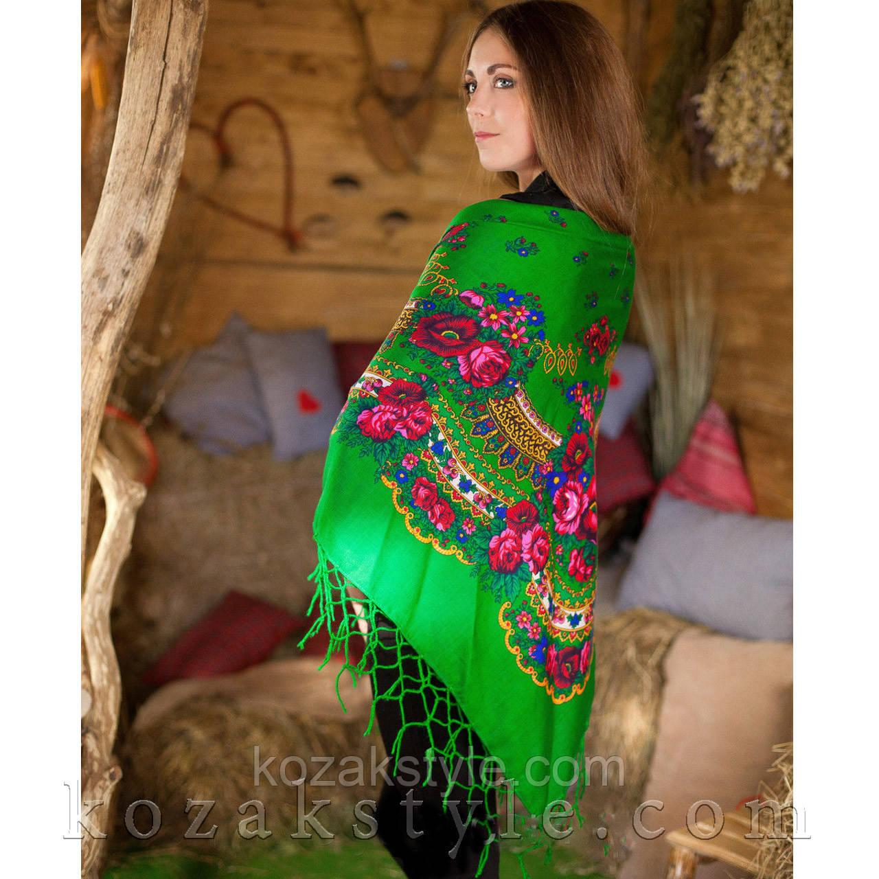 Українська хустка зелена (120х120)