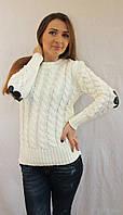 Женский вязаный свитер с налокотниками цветы, фото 1