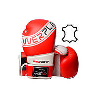 Боксерські рукавиці PowerPlay 3023 A Червоно-Білі [натуральна шкіра] 14 унцій, фото 1