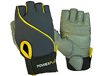 Рукавички для фітнесу PowerPlay 1725 B жіночі Сіро-Жовті XS, фото 1