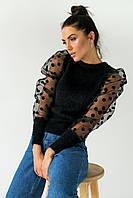 Ангоровый джемпер с рукавами из органзы LUREX - черный цвет, S (есть размеры), фото 1