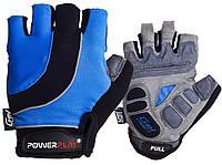 Велорукавички PowerPlay 5037 A Чорно-блакитні L, фото 1