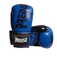 Боксерські рукавиці PowerPlay 3017 Сині карбон 10 унцій, фото 1