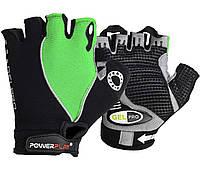Велорукавички PowerPlay 5019 A Чорно-зелені L, фото 1