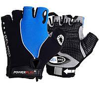 Велорукавички PowerPlay 5019 C Чорно-блакитні L, фото 1