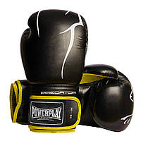 Боксерські рукавиці PowerPlay 3018 Чорно-Жовті 16 унцій, фото 1
