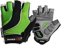 Велорукавички PowerPlay 5037 Чорно-зелені M, фото 1