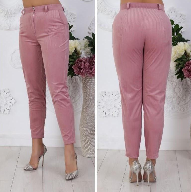 """Женские укороченные деловые велюровые брюки больших размеров """"Kristin"""""""