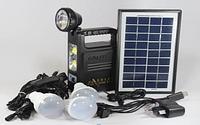 Фонарик с солнечной батареи USB порт 3 подвесные лампочки USB кабель с переходниками GD 8033