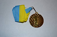 Медаль наградная с лентой, d - 5 см.( золото) 1 место