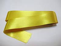 Стрічка атласна  двостороння 3 см,  Лента атласная двухсторонняя. жовта Н-03-086 Ціа за 1 метр