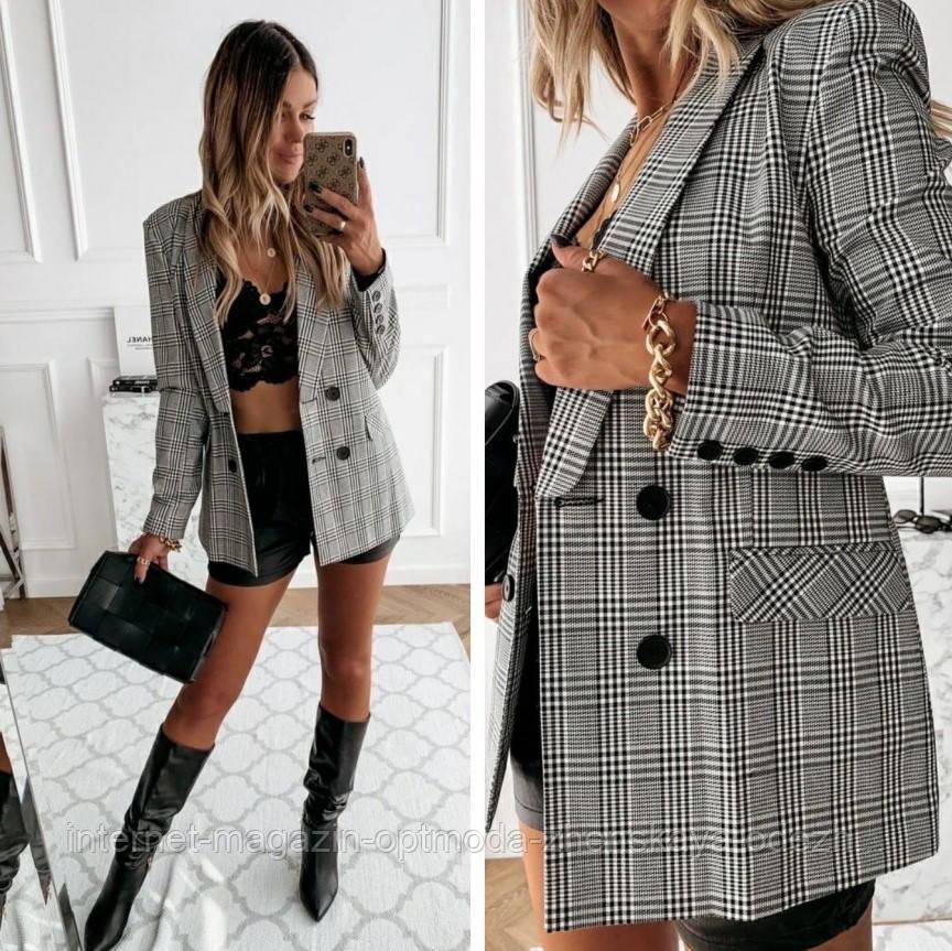 """Импозантный деловой женский пиджак в клетку """"Oficial"""""""