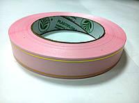 Лента розовая атласная с люрексом 2 см * 50 м