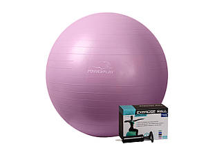 Мяч для фитнеса и гимнастики PowerPlay 4001 75см фиолетовый + насос