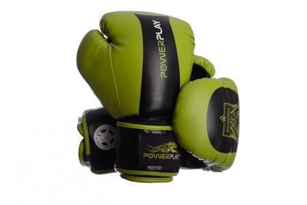 Боксерские перчатки PowerPlay 3003 зелено-черные 14 унций