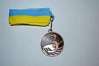 Медаль наградная с лентой, d - 5 см.( бронза) 3 место