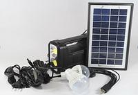 Фонарик  с солнечной батареи USB порт 2 подвесные лампочки USB кабель с переходниками GD 8037