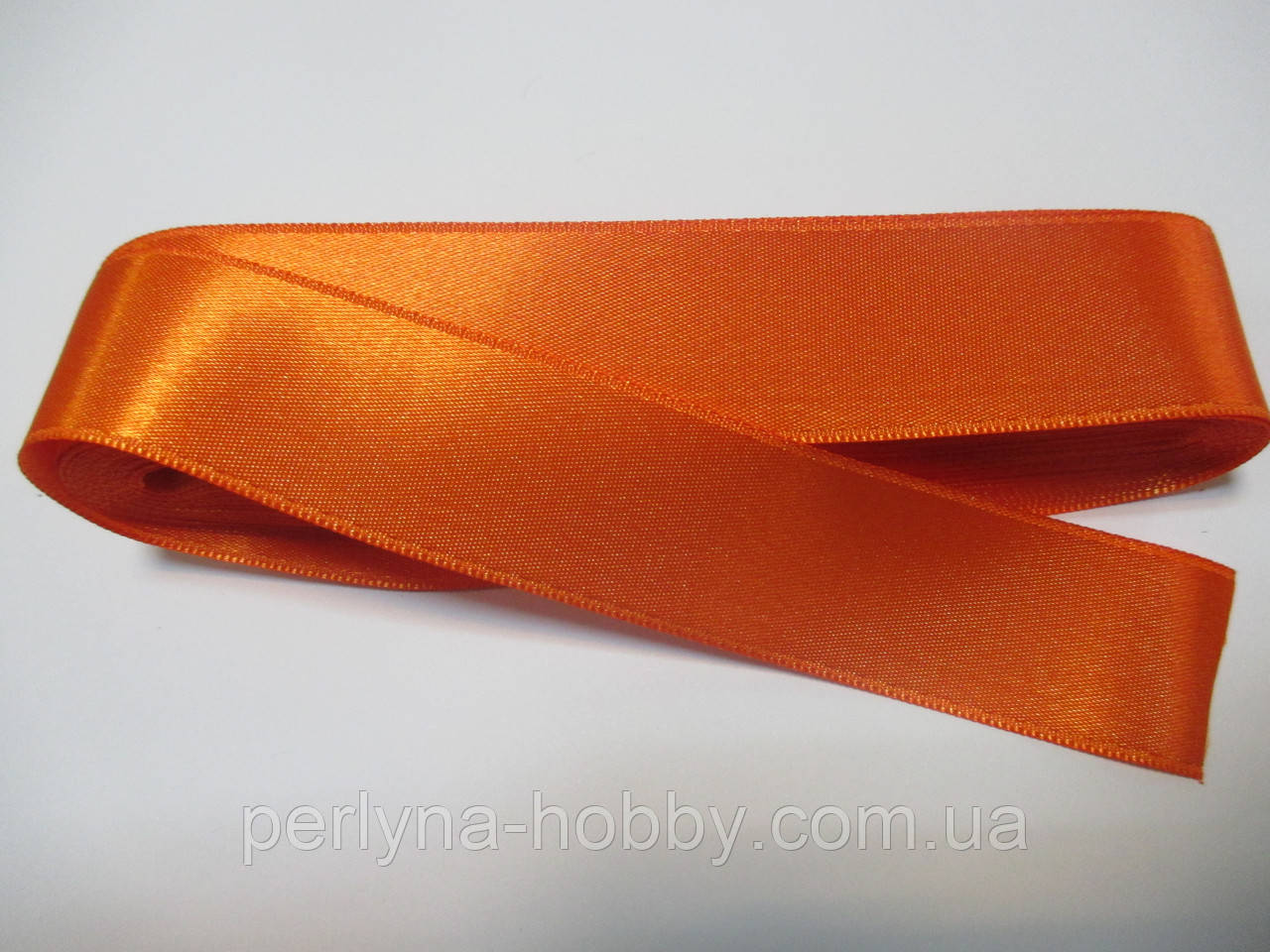 Стрічка атласна  двостороння 3 см,  Лента атласная двухсторонняя.оранжева G-03-363. Ціна за 1 метр