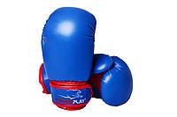 Боксерские перчатки PowerPlay 3004 JR синие-красние 6 унций, фото 1